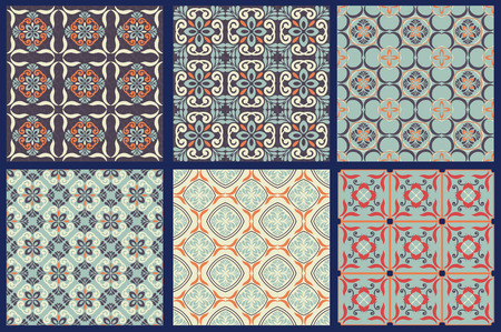Set of 6 seamless patterns, tile stylized, Retro