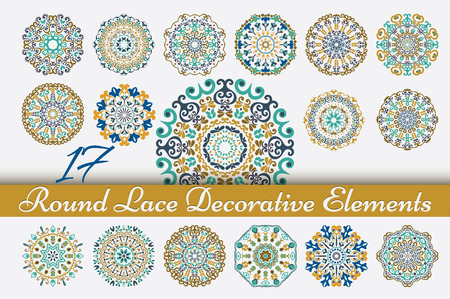 17 Round Lace colored ornaments