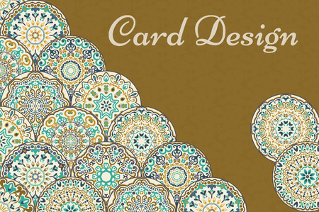 Invitation with corner of trendy colored abstract floral circles.