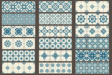 arabesco: Set-2 de 18 plantillas clásico inconsútil de azulejos marroquíes, adornos para la cocina, azul estilo Vectores