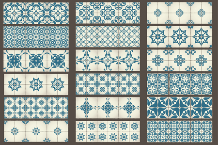 tile pattern: Set-2 of 18 Classic seamless Templates of Moroccan tiles, ornaments for kitchen, blue STYLE