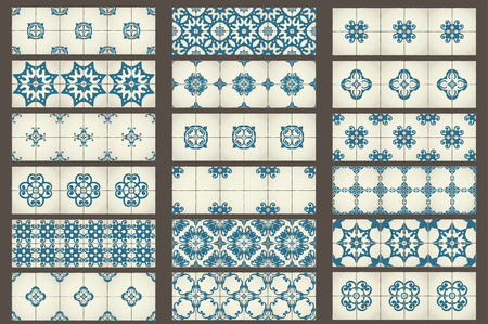 mosaic background: Set of 18 Classic seamless Templates of Moroccan tiles, ornaments for kitchen, blue STYLE Illustration