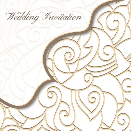 Wedding card, elegant Lace Corner design.