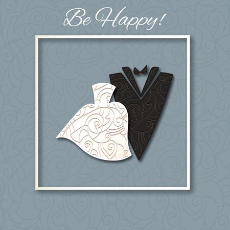 Wedding Card with Elegant silhouettes