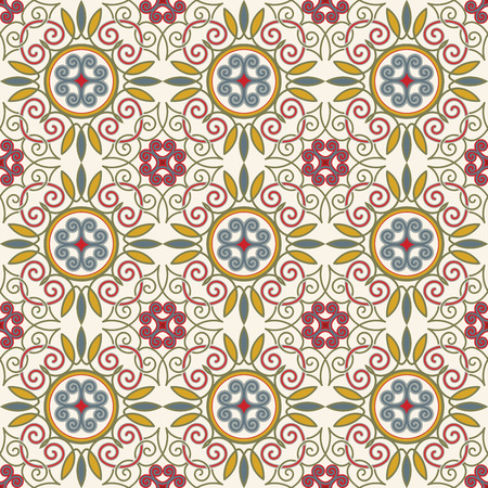 Tile PATTERN from RETRO blue-orange-red-beige style. Can be used for wallpaper, surface textures, cover etc. Vintage