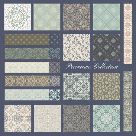 frances: Conjunto de 19 patrones sin fisuras en colores pastel, estilo Provance Vectores
