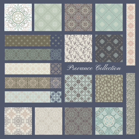 french: Set of 19 seamless Pastel patterns, Provance style