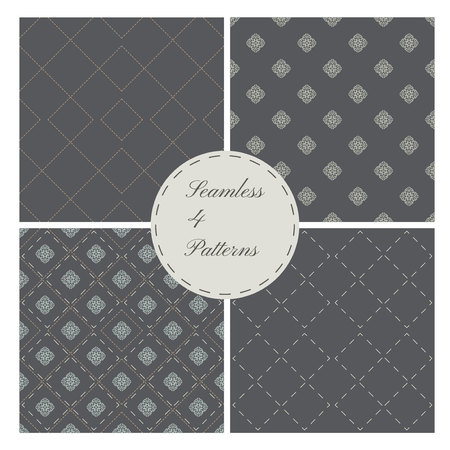 retro patterns: Set of 4 seamless patterns, classic style, Retro Illustration