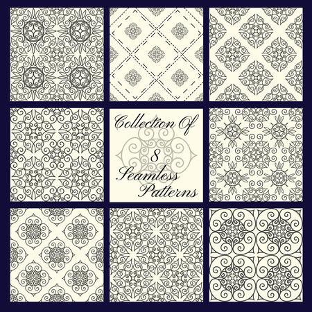 Set of 8 seamless modern patterns, monochrome