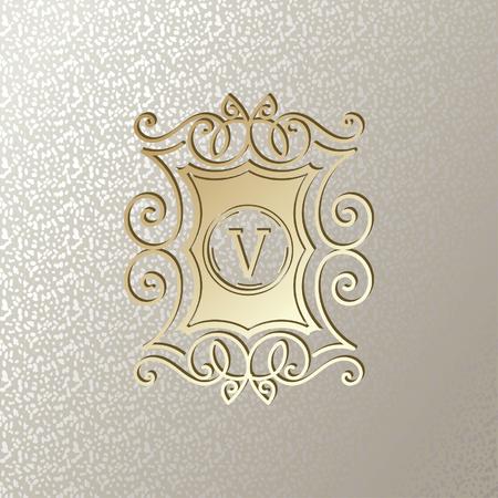 Elegant card with Vintage golden frame on shimmering silver background