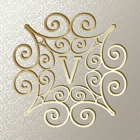 Elegant card with Vintage golden frame. Monogram design