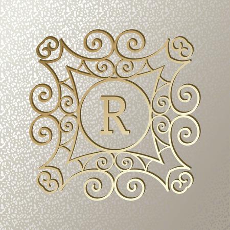 Vintage card with golden monogram Illusztráció