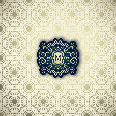 Classic Frame, emblem, logo design template. Vector frame, seamless golden ornamental background Logo