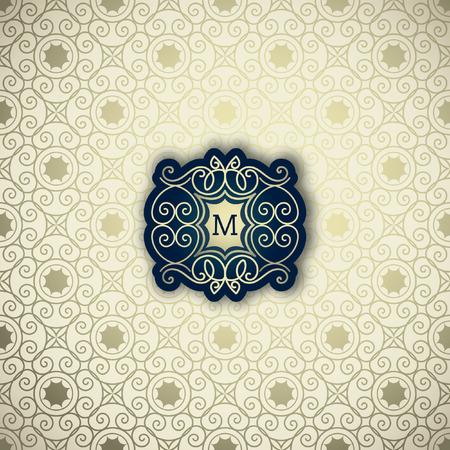 verschnörkelt: Klassischer Rahmen, Emblem, Logo-Design-Vorlage. Vector Rahmen, nahtlose goldenen ornamentalen Hintergrund Illustration