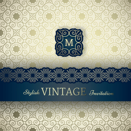 frame border: Invitation card Baroque golden colored seamless abstract ornamental background, Vintage frame and border