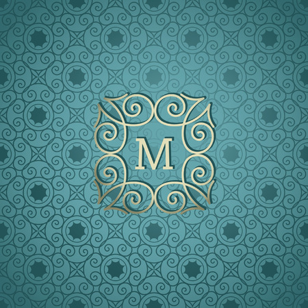 Modern monogram, emblem, logo design template. Vector frame, seamless blue ornamental background Illusztráció