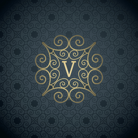 Modern monogram, emblem, logo design template. Vector frame, seamless deep grey ornamental background