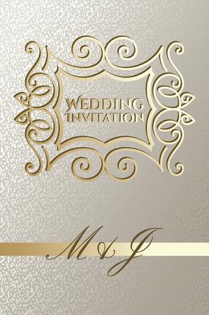 Wedding card design with golden elegant frame Illusztráció