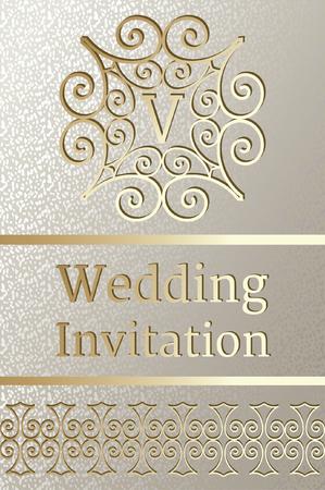 Wedding Invitation design with golden elegant frame Illusztráció