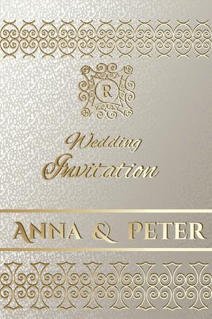 Elegant Wedding Card with golden Frame borders on silver background