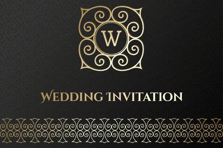 Elegant card with Vintage golden frame on black background