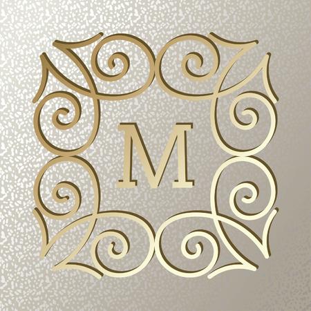 Vintage card with elegant golden frame