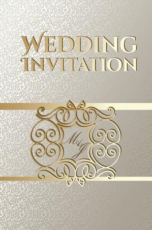 Wedding card design with golden decorative frame