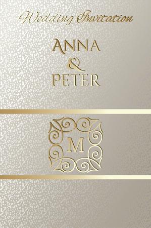 Wedding card design, golden decorative element