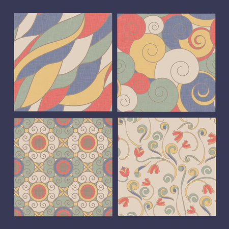SEt of 4 seamless patterns: abstract, floral ornamental.