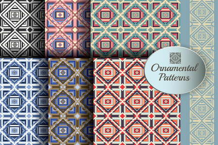 Set of Seamless ornamental patterns illustration in retro colors