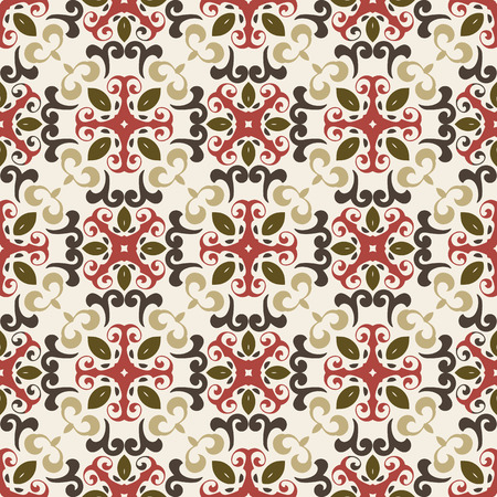 Seamless pattern illustration in marsala-brown-beige colors - like retro tiles Illusztráció