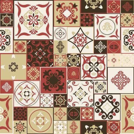 Azulejo del modelo de los azulejos marroquíes estilo de moda Marsala-marrón-amarillento, adornos. Puede ser utilizado para el papel pintado, texturas de la superficie, etc. cubren la vendimia Ilustración de vector