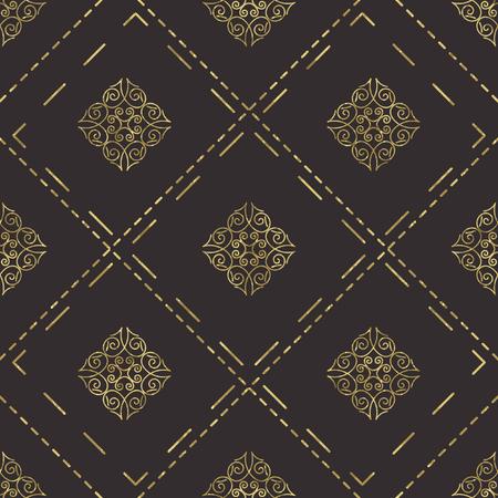tile pattern: Classic stylish seamless pattern, in dark golden