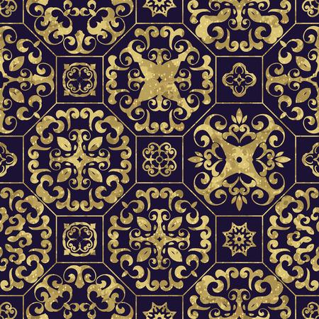 seamless tile: Vintage golden deep blue tile background, Ornamental pattern