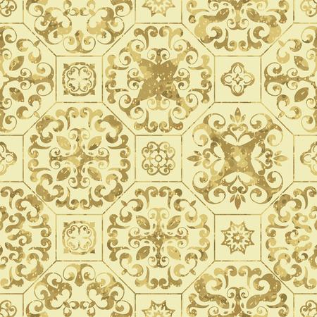Vintage golden tile background, Ornamental pattern Illusztráció