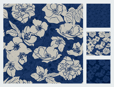 Set of 4 floral patterns. Classic design. Blue & grey colored