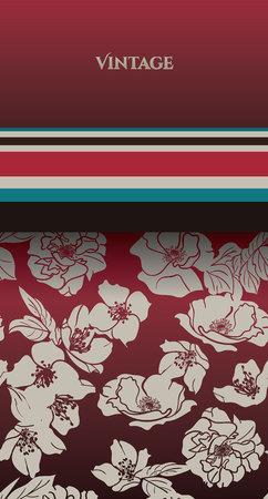 Card with Hand-drawn floral background. Modern Trendy Marsala Beige