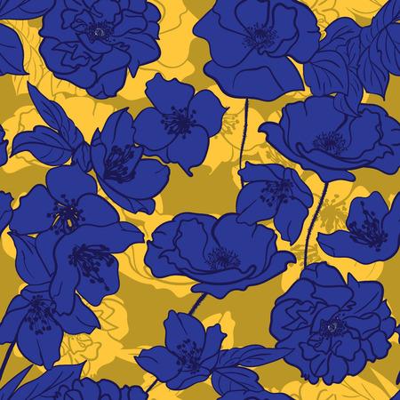 Hand getekende bloemen elegant behang, naadloos patroon. Heldere Blauwe bloemen Gele achtergrond met schaduwen