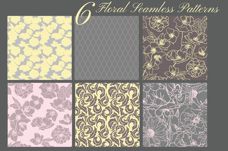 Collection of 6 floral patterns, Seamless. Hand drawn flowers. Soft colors.