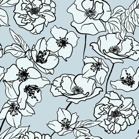 Seamless floral hand drawn pattern Illusztráció