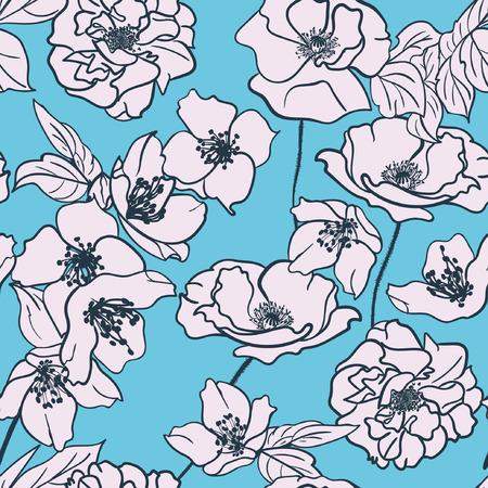 Monochrome Hand-drawn floral wallpaper, elegant design, Seamless pattern. White flowers on Turquoise background