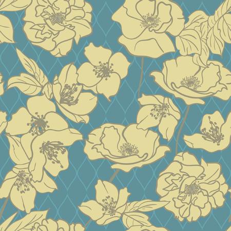 Monochrome Hand-drawn floral wallpaper, elegant design, Seamless pattern. Yellow flowers on retro Blue background