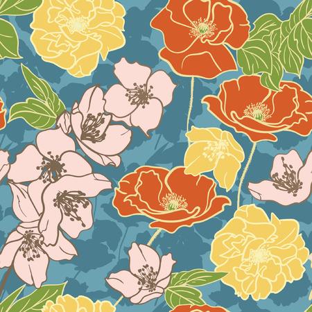 Vector seamless floral pattern. Bouquete of flowers Illusztráció