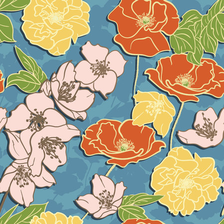 Hand-drawn floral elegant wallpaper, Seamless pattern. Retro-Colored flowers on Blue background Illusztráció