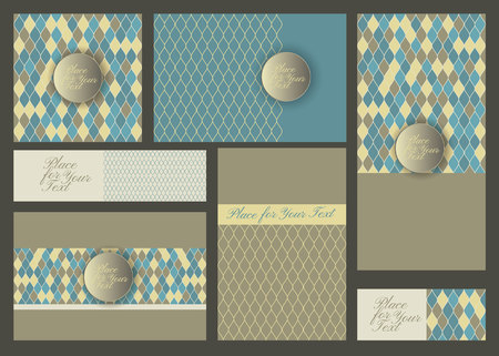 Invitation card with abstract geometric retro colored background, Modern design elements