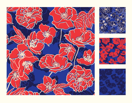 textile texture: Collection of Hand-drawn floral wallpapers, Seamless patterns. Bright Red flowers Deep Blue background with shadows