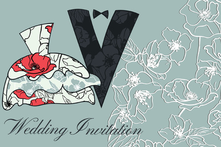 Wedding couple in silhouette, Floral Wedding Invitation