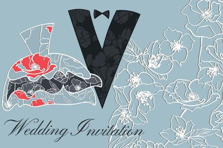 Hochzeitspaar in der Silhouette, Blumenhochzeits-Einladung Standard-Bild - 66714644