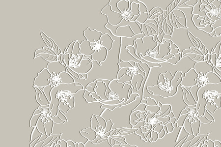 Card with a white floral lace on beige background. Floral Background. Vector Wedding invitation. Illusztráció
