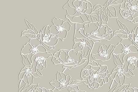 Kaart met een witte bloemen kant op beige achtergrond. Bloemen Achtergrond. Vector uitnodiging van het huwelijk.